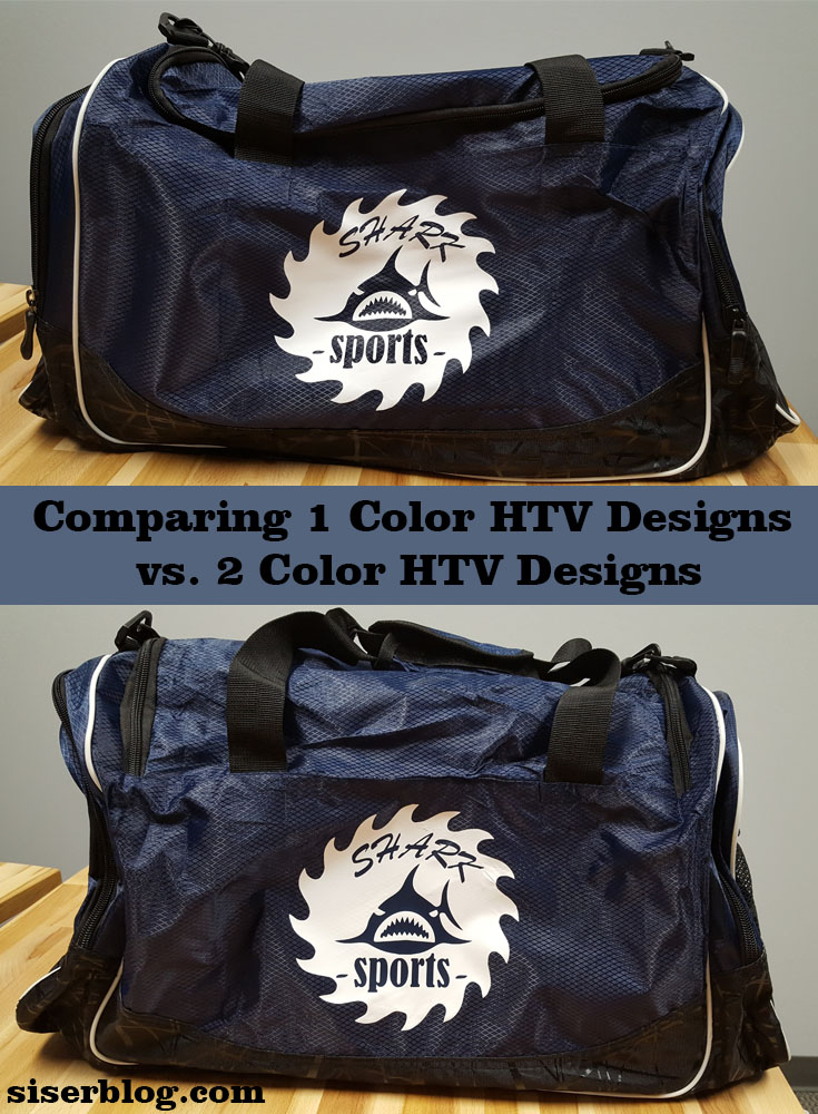 Learn when to chose 1 color designs and 2 color designs in your heat transfer vinyl business plus how to apply EasyWeed Extra to a nylon duffel bag!