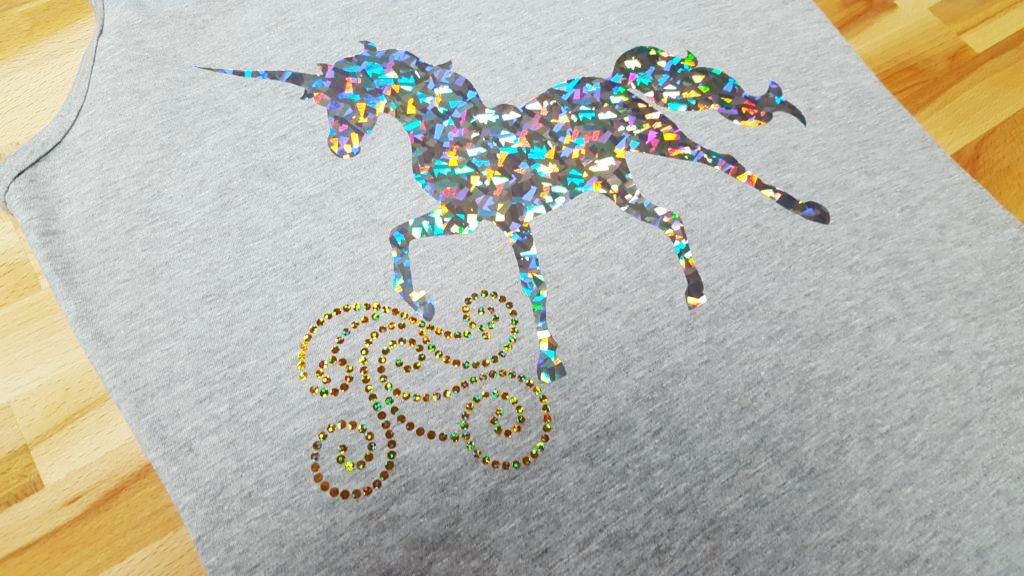 Holographic gold and silver crystal unicorn tank top