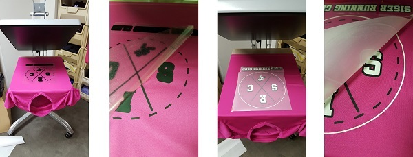 The process of heat applying Siser EasyWeed Stretch and Reflect All heat transfer vinyls to an athletic apparel tshirt