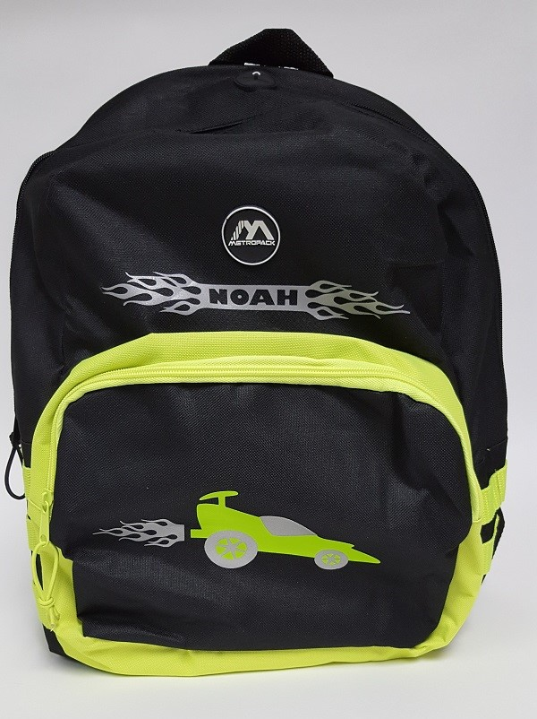 The complete racecar reflective backpack