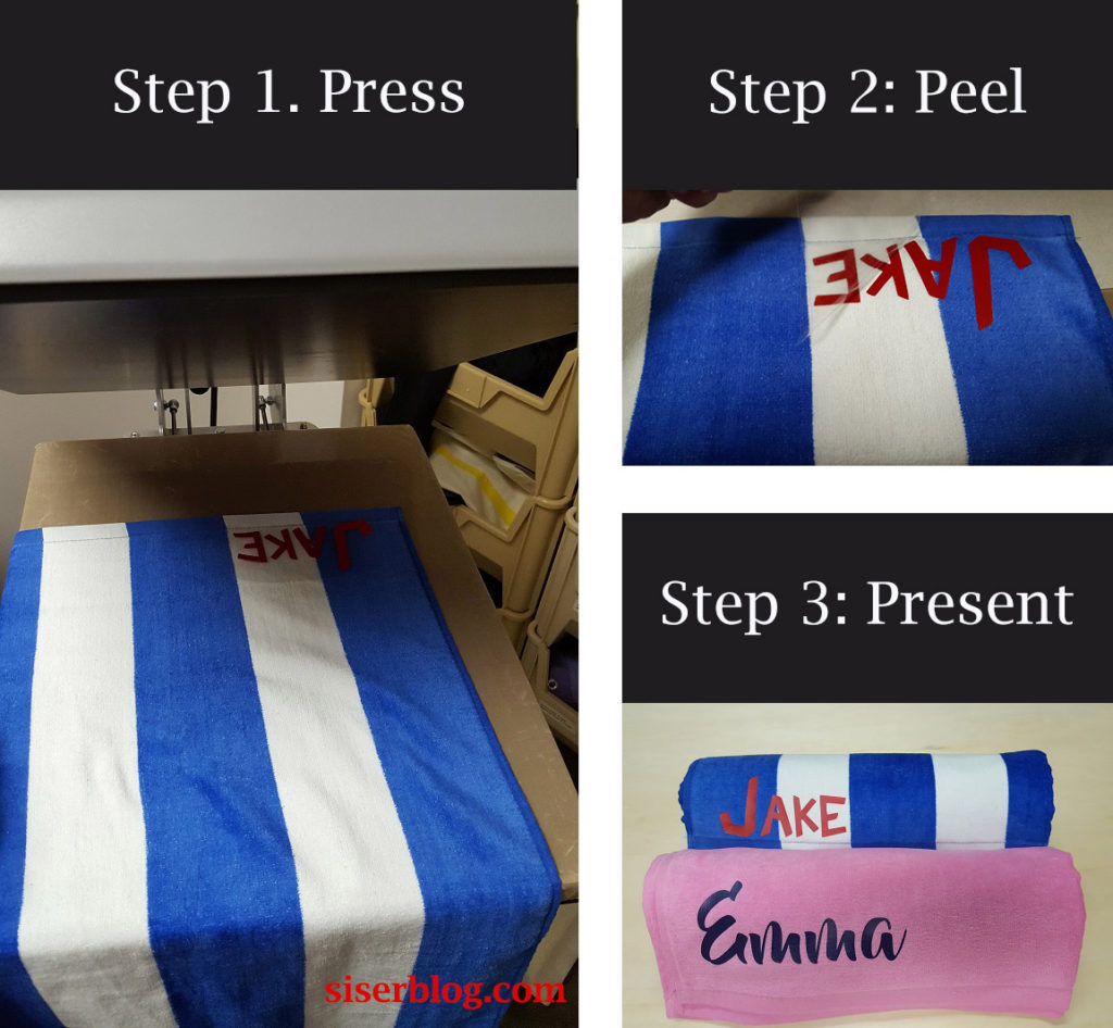 How to put names on beach towels with iron on vinyl
