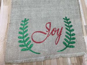 Red and Green Glitter on the Christmas side of the table runner