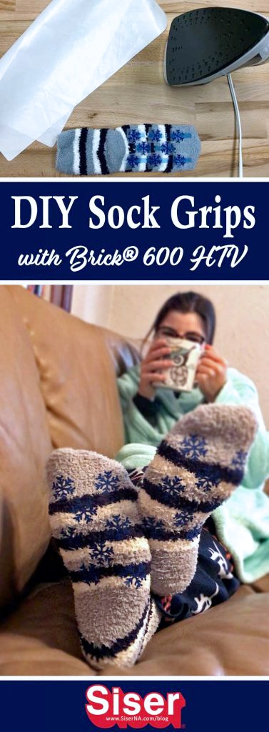 Not all fuzzy socks are grippie, but now they can be with Brick™ 600 heat transfer vinyl! This step by step tutorial will show you how to make your own sock grips with your Cricut, home iron, and Brick™ 600