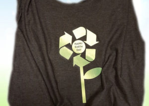 Upcycled Earth Day tote bag using tshirt and Siser EasyWeed Electric.