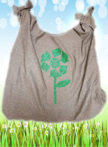 Upcycled T-shirt tote bag for Earth Day using Siser heat transfer vinyl