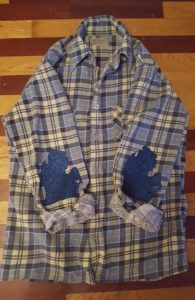 How to add iron on elbow patches to a plaid flannel shirt