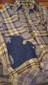 Sapphire Glitter elbow patches on a 100% cotton flannel