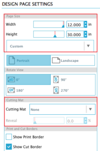 Design Page Settings to cut longer than the mat