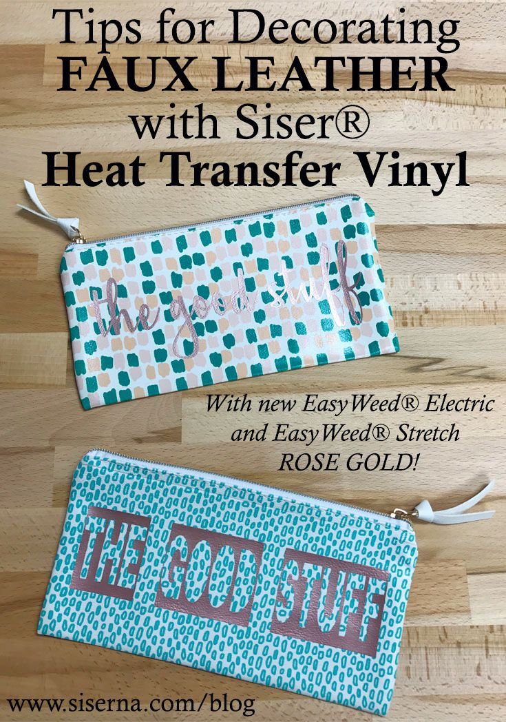 Need to know tips for heat applying HTV to faux leather, so your project comes out perfect! If you have a home iron or heat press you can decorate faux leather with Siser® Heat Transfer Vinyl in our latest color Rose Gold!