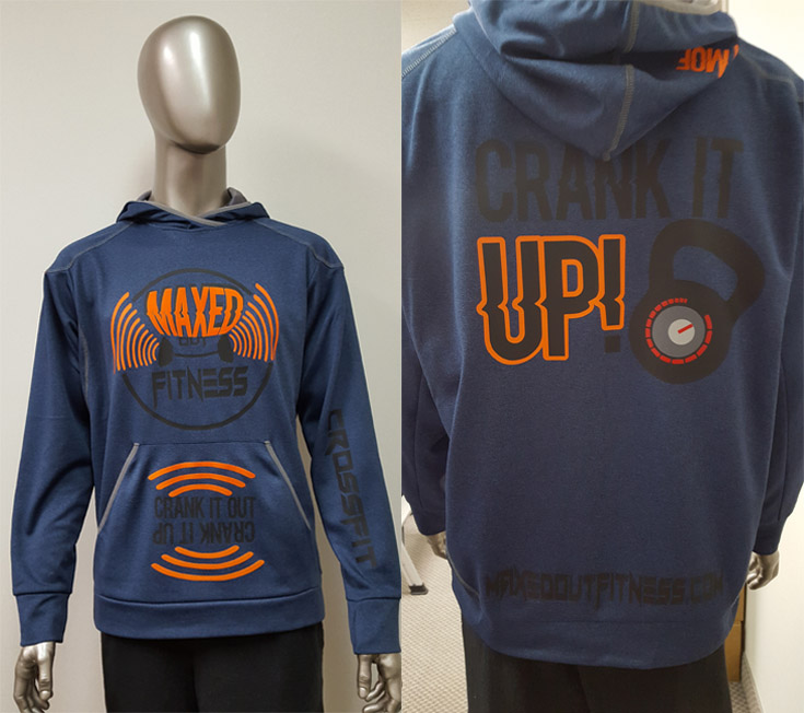 The front and back of a custom heat press hoodie