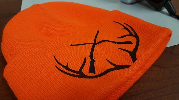 DIY custom blaze orange deer hunting hat