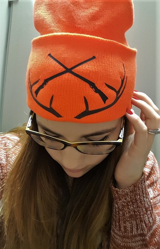 Modeling the DIY custom blaze orange hunting hat
