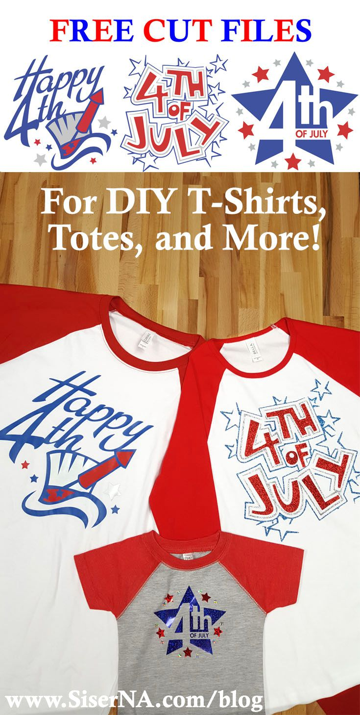 Getting your red, white, and blue on is easy with free cut files. Grab these fourth of July cut files and Siser heat transfer vinyl to craft Independence Day t-shirts for the whole family!