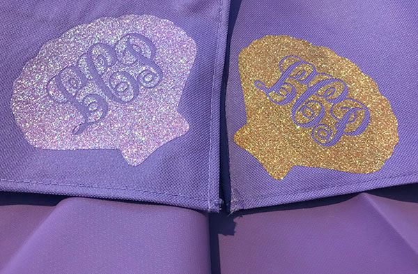 pink and orange translucent glitter HTV look different on purple