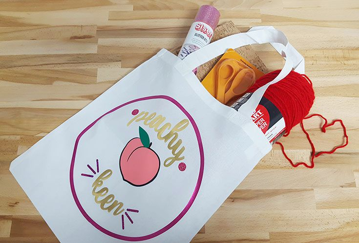 DIY peachy keen tote bag filled with Michaels swag