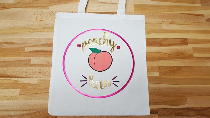 Create this tote bag with the free cut file for Cricut, Silhouette, or Brother