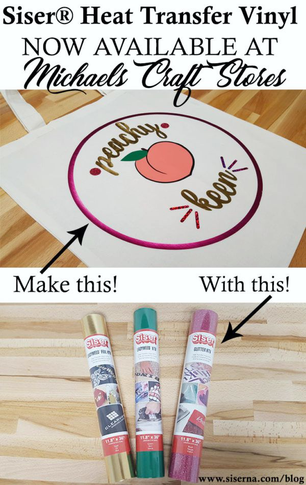 Siser HTV is now available for your convenience at Michaels craft stores! Get the free cut file and try your hand at heat transfer vinyl. We bet you'll think it's peachy keen!