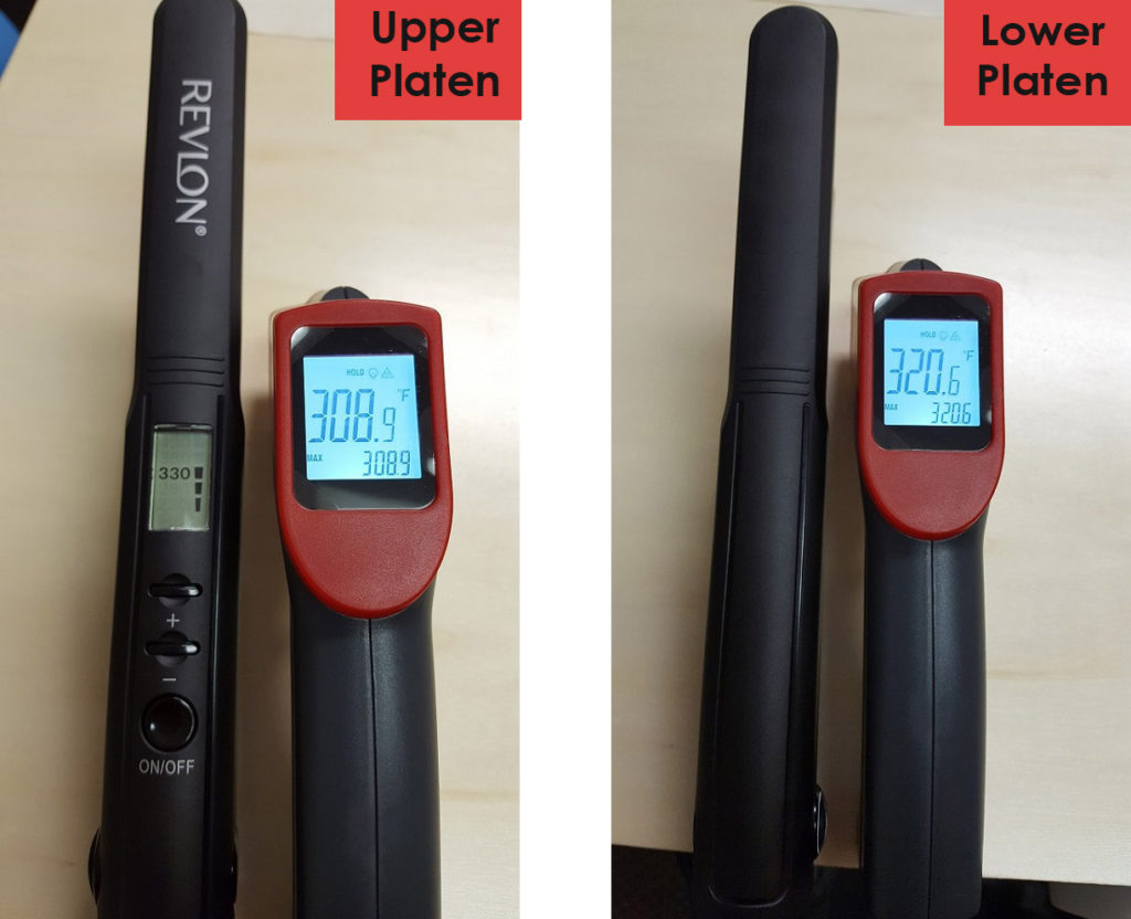 Comparing heat platens on a Revlon Perfect Heat hair straightener