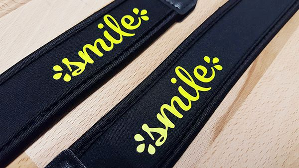 Neoprene camera straps decorated with EasyWeed HTV