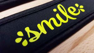 neoprene camera strap decorated with fluorescent yellow EasyWeed