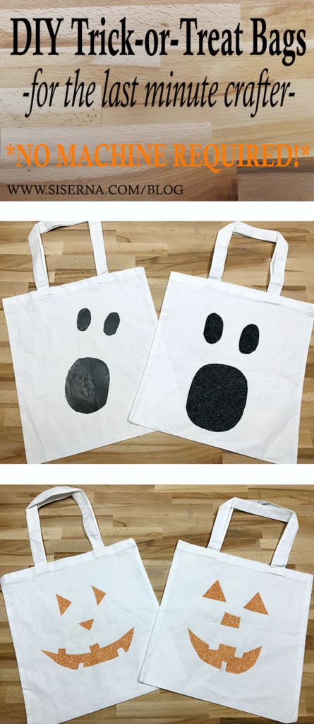 Easy and fast iron on vinyl trick-or-treat tote bags for the last minute crafter who doesn't even own a vinyl cutter. That's right! This project is so simple, even the kids could do it with a pair of scissors and a home iron.