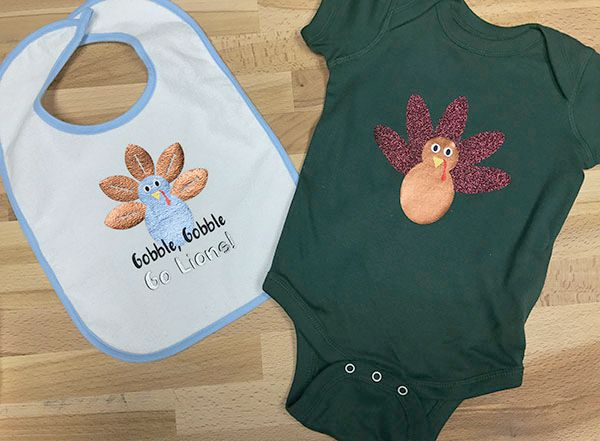 DIY Thanksgiving turkey onesie and football turkey bib
