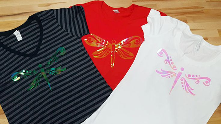 Translucent dragonflies t-shirts made with translucent HTV