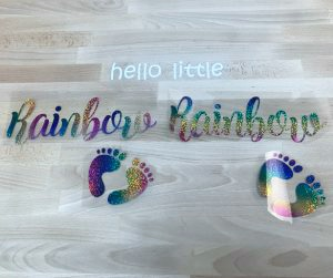 Cut and weeded Glitter and Holographic HTV pieces