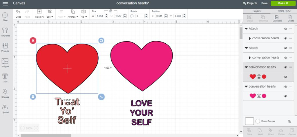 How to make conversation heart cut files in Cricut Design Space