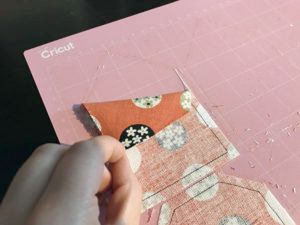 Peel cut fabric pattern pieces of fabric grip mat
