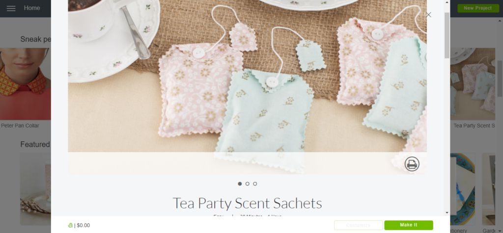 cricut access tea party scent sachets pattern