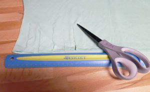 measure and cut one inch wide fringe sections