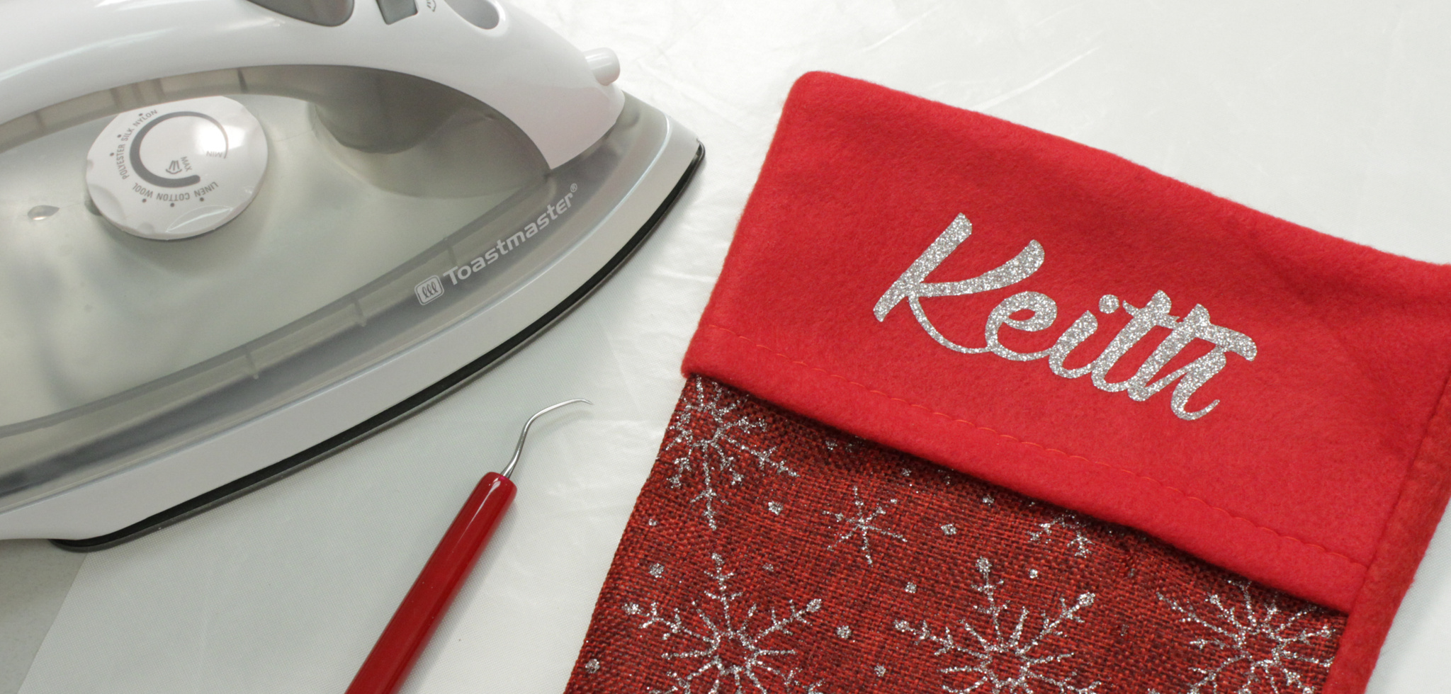 christmas stockings with siser glitter and a home iron