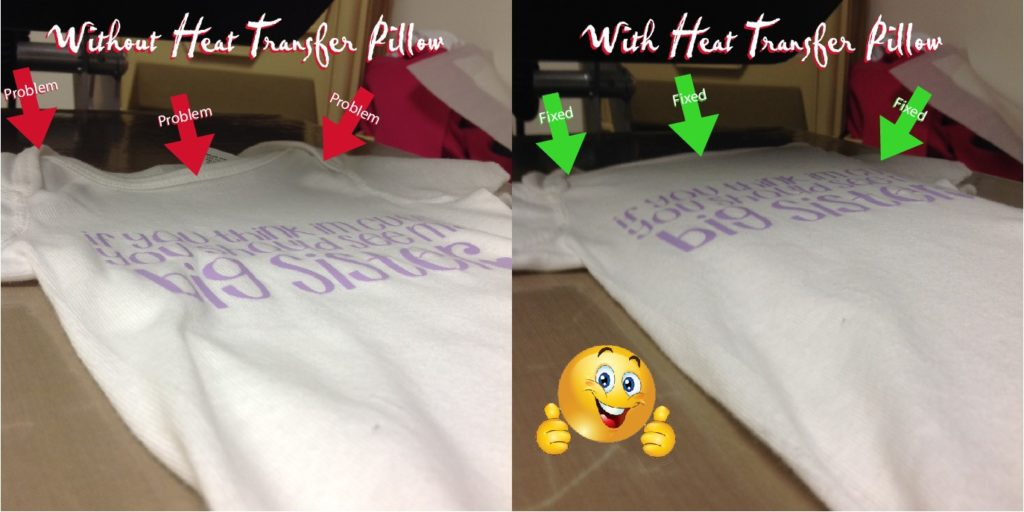 Pressure problem areas of a onesie fixed with a heat transfer pillow