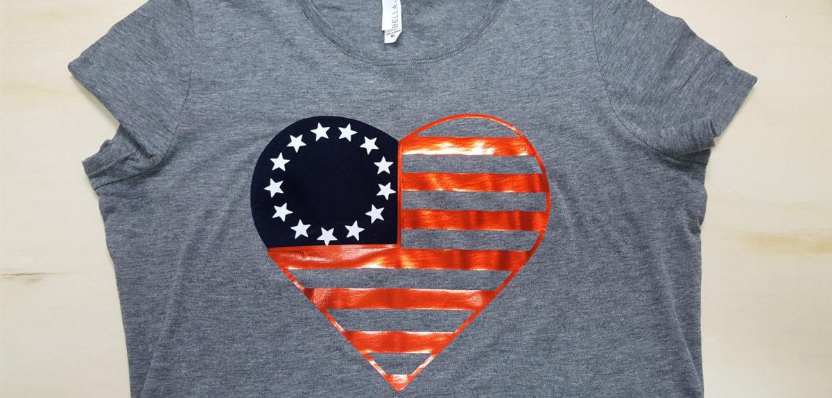 siser htv flag heart Patriotic Shirt