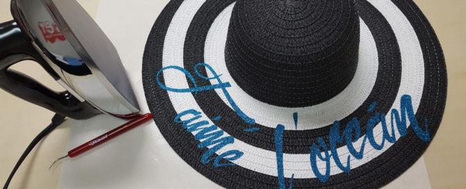 DIY floppy sun hat with Glitter iron on vinyl