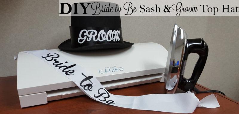 DIY bride to be sash and groom top hat