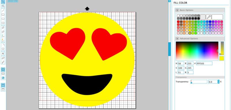 DIY Heart Eye Emoji artwork in Silhouette Studio