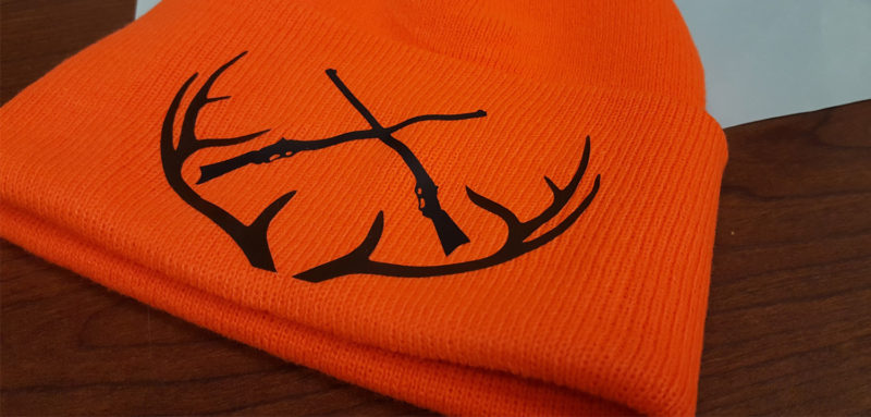 DIY Orange Hunting Hat customized with iron on vinyl