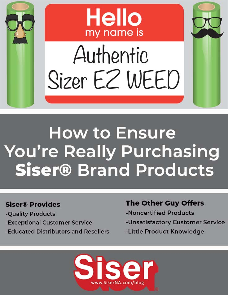 Siser® imposters are unfortunately becoming more prevalent. Don't be duped by phony brands with bottom of the barrel prices! It's likely the material isn't quality or Siser. Ensure you're getting guaranteed Siser® brand by purchasing from an Authorized Distributor or Authorized Reseller. Read the full blog post to know how to spot fake Siser® sellers!