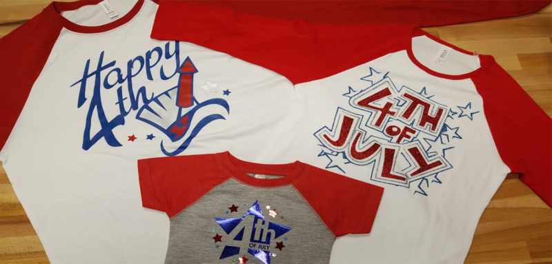 raglan tshirts with Great Dane Graphics July 4th art