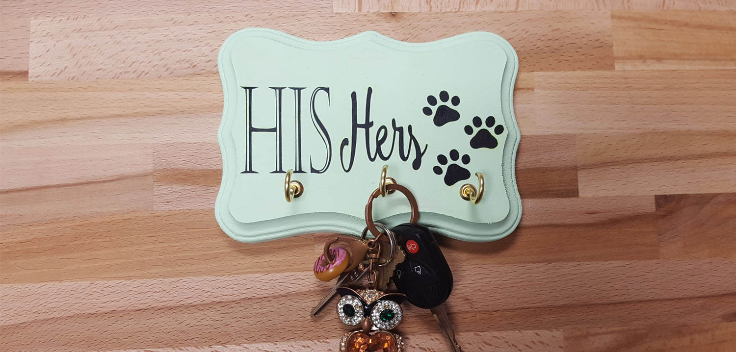 how to iron HTV to painted wood key holder