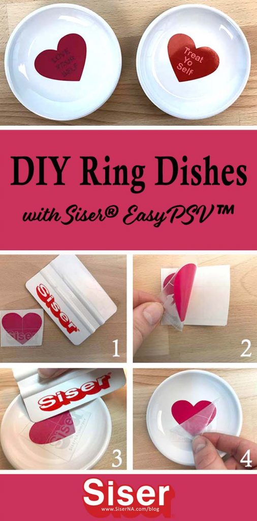 New EasyPSV™ by Siser ®comes in a variety of pinks and reds that are perfect for Valentine's Day - and you can win some! Click this post to enter the raffle and discover how to cut EasyPSV with your Cricut Explore Air and decorate ring or trinket dishes with conversation hearts in this easy tutorial!