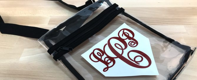 How to monogram a clear stadium bag with EasyPSV