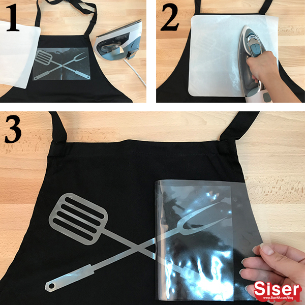 how to iron EasyWeed Electric Tungsten on to an apron