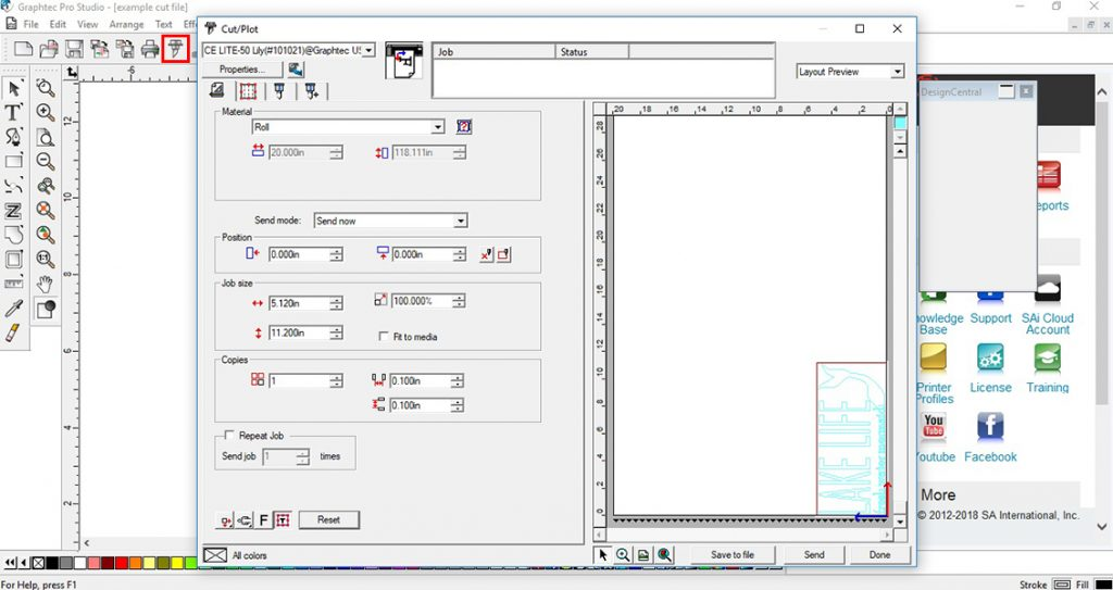 How to send a cut file from Graphtec Pro Studio to the CE Lite-50