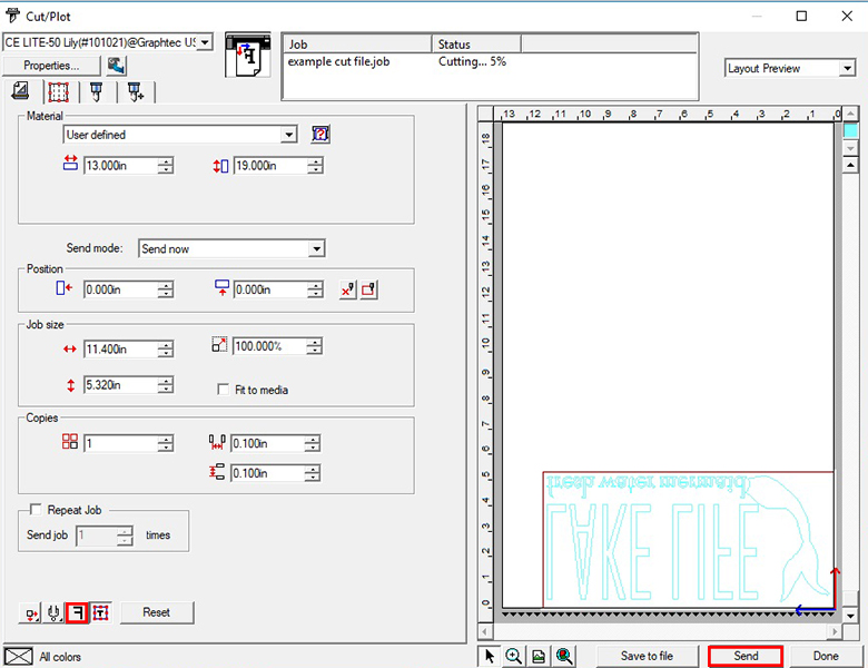 How to mirror your cut file and send it to the CE Lite-50