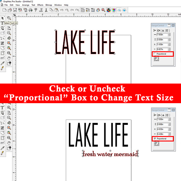 Two ways to adjust text size in Graphtec Pro Studio