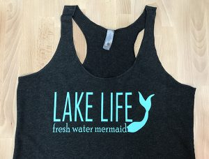 Lake life mermaid tank top with Sea Glass colored EasyWeed Stretch HTV
