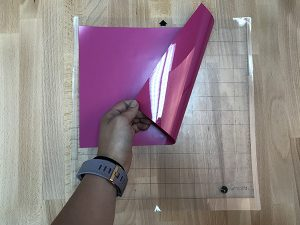 Tip #2: Place heat transfer vinyl with the shiny side down on the cutting mat